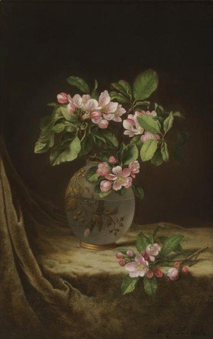 Martin Johnson Heade - Apple Blossoms in an Opalescent Vase
