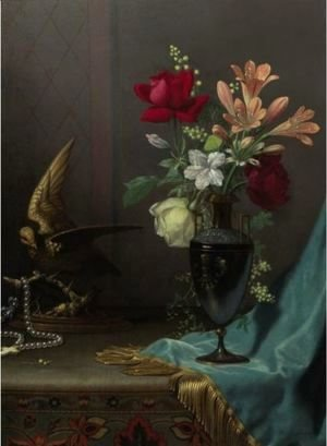 Martin Johnson Heade - Vase Of Mixed Flowers With A Dove