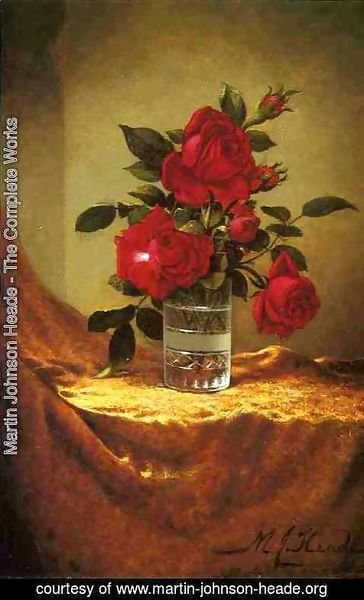 Martin Johnson Heade - A Glass Of Roses On Gold Cloth