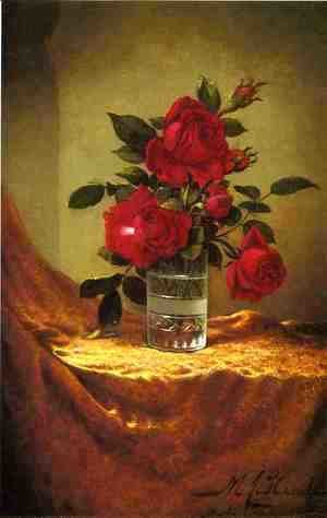 A Glass Of Roses On Gold Cloth