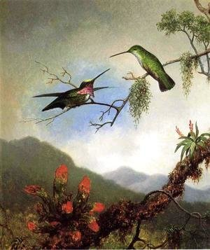 Martin Johnson Heade - Amethyst Hummingbirds And Red Flowers