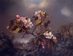 Martin Johnson Heade - Apple Blossoms And Hummingbird