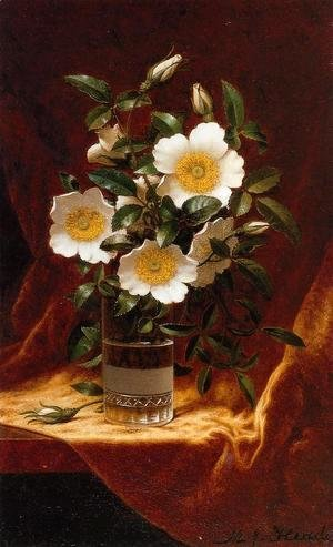 Martin Johnson Heade - Cherokee Roses In A Glass