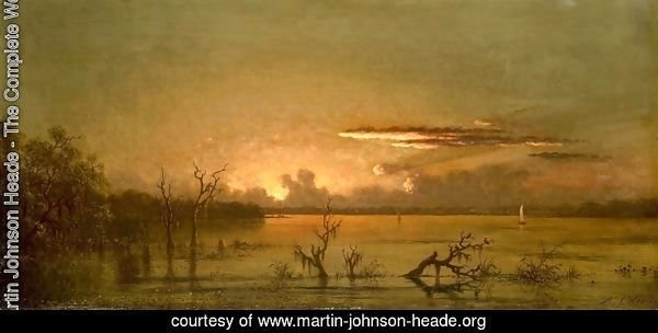 Duck Hunters In A Twilight Marsh