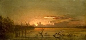Martin Johnson Heade - Duck Hunters In A Twilight Marsh