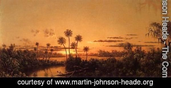 Martin Johnson Heade - Florida River Scene Early Evening  After Sunset