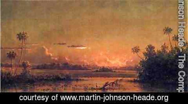 Martin Johnson Heade - Florida Sunset With Waterfowl