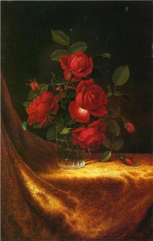 Martin Johnson Heade - Four Roses In A Glass