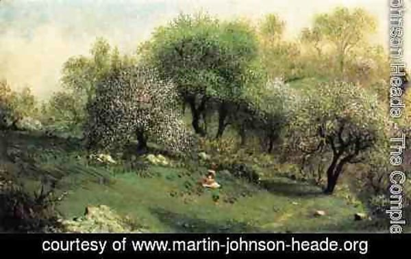 Martin Johnson Heade - Girl On A Hillside  Apple Blossoms