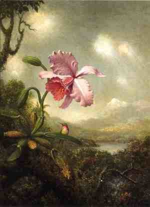 Martin Johnson Heade - Hummingbird And Orchid Sun Breaking Through The Clouds