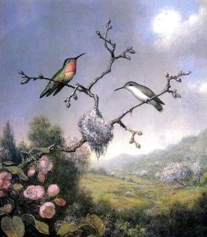 Martin Johnson Heade - Hummingbirds And Apple Blossoms