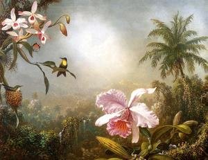 Martin Johnson Heade - Orchids  Nesting Hummingbirds And A Butterfly