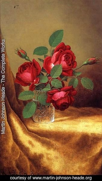 Martin Johnson Heade - Red Roses In A Crystal Goblet