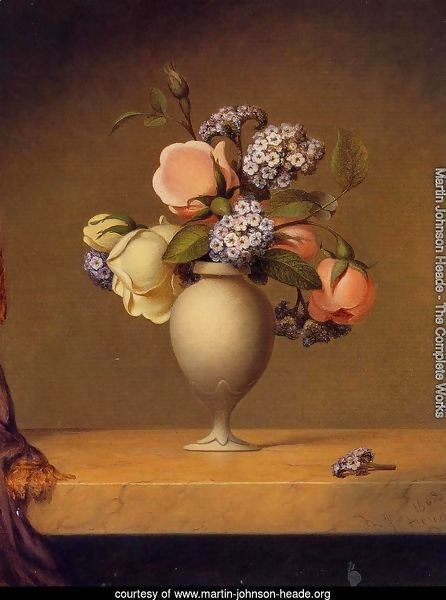 Roses And Heliotrope In A Vase On A Marble Tabletop