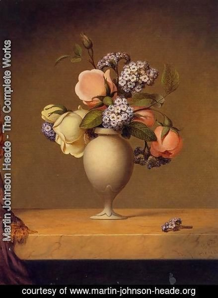 Martin Johnson Heade - Roses And Heliotrope In A Vase On A Marble Tabletop