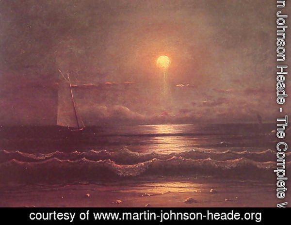 Martin Johnson Heade - Sailing By Moonlight