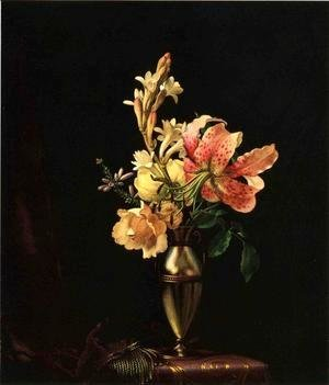 Martin Johnson Heade - Still Life With Flowers In A Silver Vase