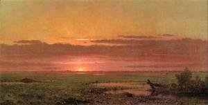 Martin Johnson Heade - Sunset Marshland  New Jersey