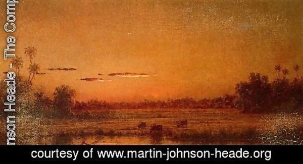 Martin Johnson Heade - Sunset With Group Of Palms