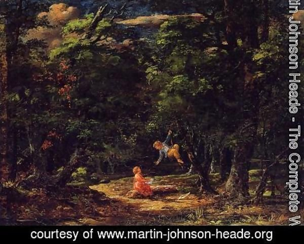 Martin Johnson Heade - The Swing Children In The Woods