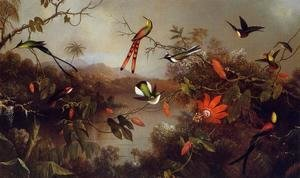 Martin Johnson Heade - Tropical Landscape With Ten Hummingbirds