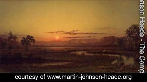 Martin Johnson Heade - Two Fishermen In The Marsh  At Sunset