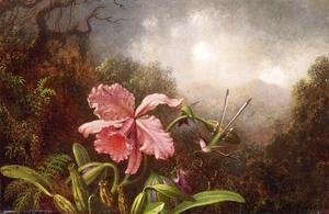 Martin Johnson Heade - Two Hummingbirds By An Orchid