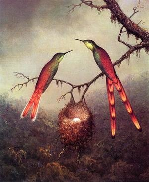 Martin Johnson Heade - Two Hummingbirds Garding An Egg