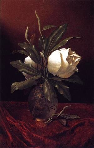 Martin Johnson Heade - Two Magnolia Blossoms In A Glass Vase