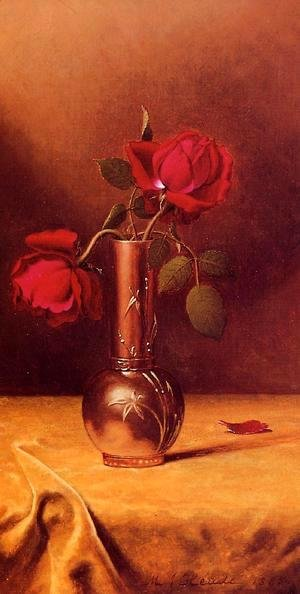 Martin Johnson Heade - Two Red Roses In A Bronze Vase