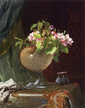 Martin Johnson Heade - Victorian Still Life With Apple Blossoms