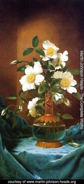 Martin Johnson Heade - White Cherokee Roses In A Salamander Vase