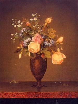 Martin Johnson Heade - Wildflowers In A Brown Vase