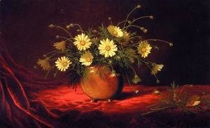 Martin Johnson Heade - Yellow Daisies In A Bowl